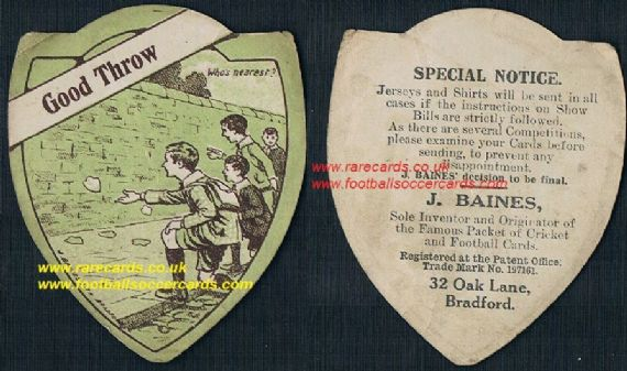 1914 Baines Oak Lane playing cards wall game Good Throw monotone card